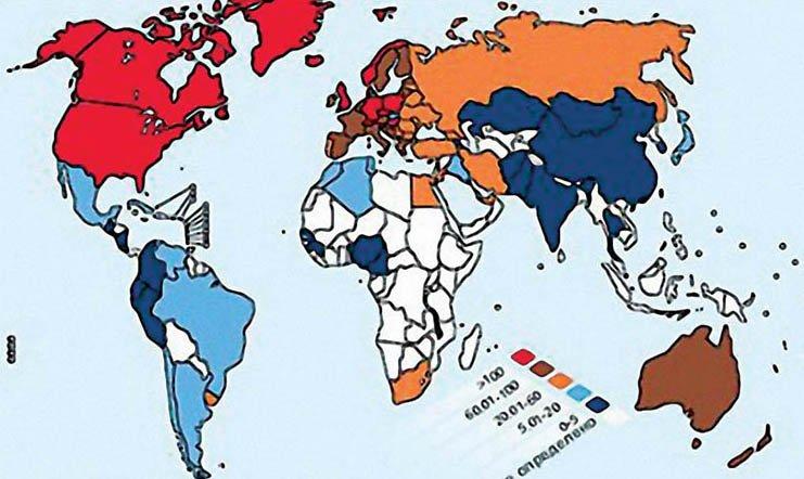 Рис. 3 распространенность склероза на 100 тыс. населения