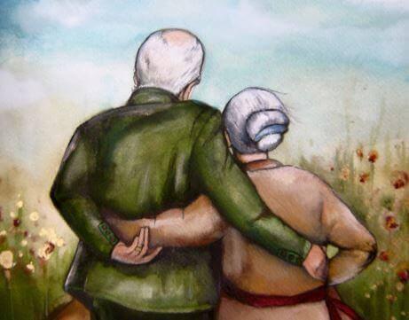 старики обнимаются рисунок