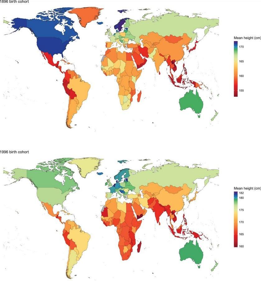 Как изменился рост мужчин с 1896 по 1996 год