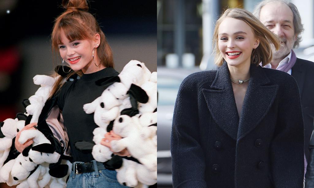 Ванесса Паради в возрасте 17 лет и Лили-Роуз Депп в 15