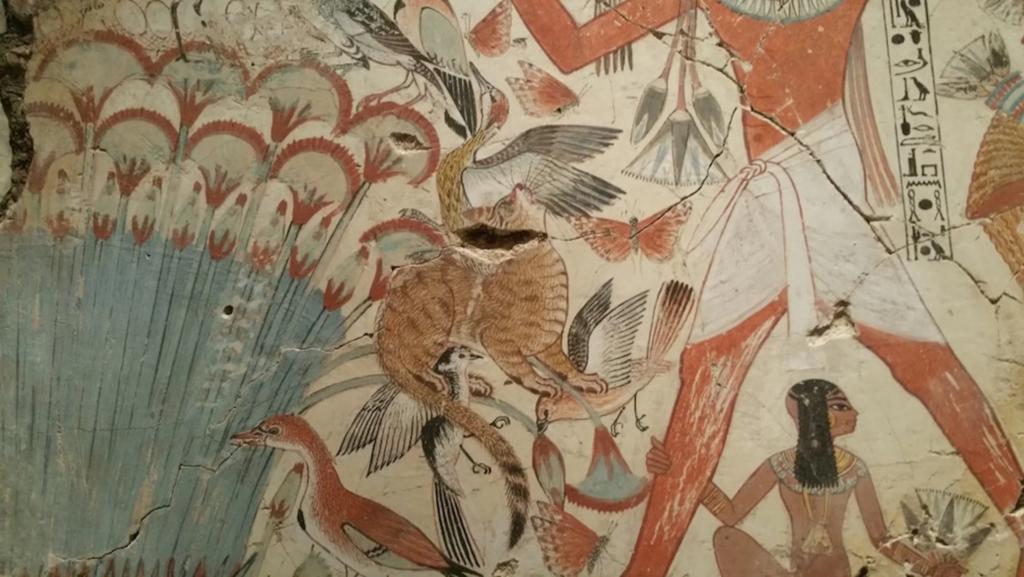 фрагмент египетской гробницы с изображением кошки
