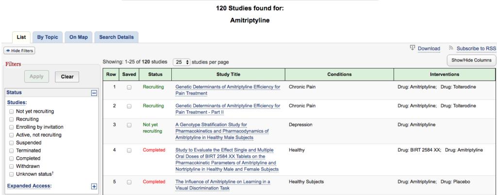 120 клинических исследования амитриптилина