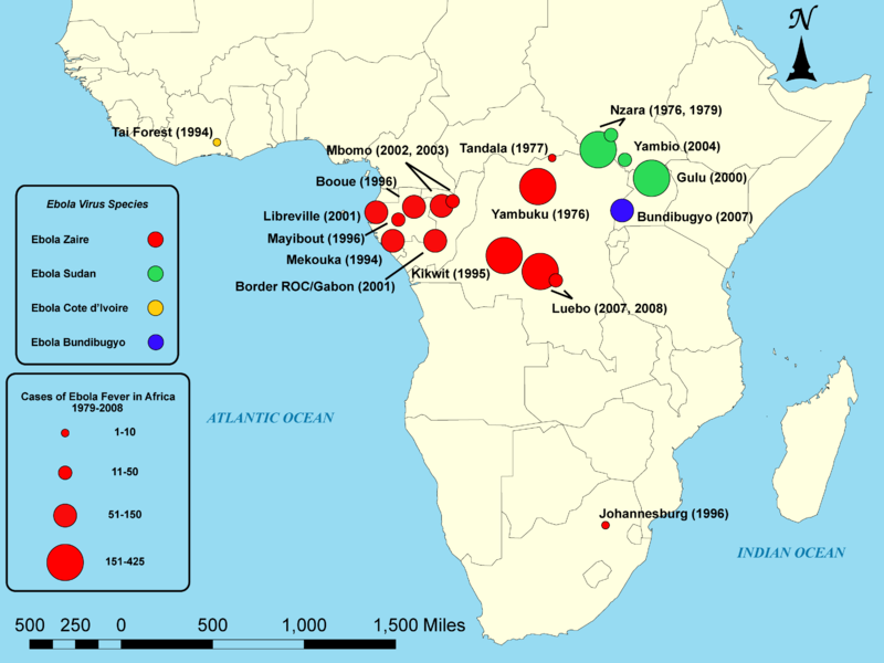 Карта распространения лихорадки Эбола в Африке до 2014 года.