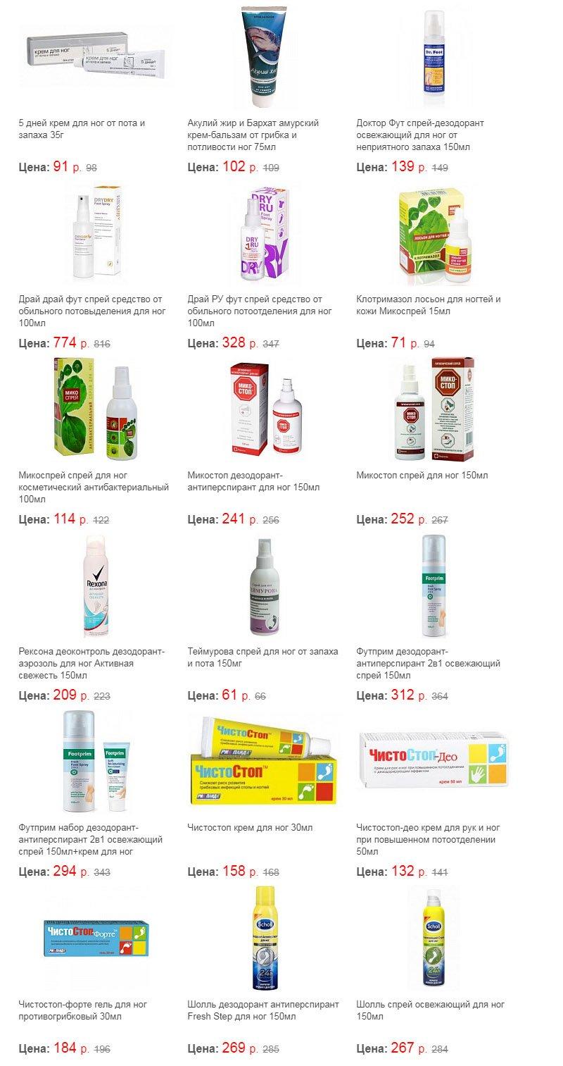 Средства от потливости ног цены в аптеках